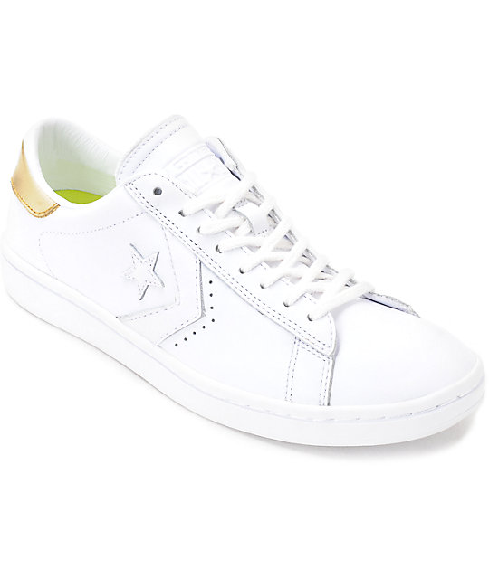 4bd1f927bc0 Converse PL LP Ox White   Gold Womens Leather Shoes