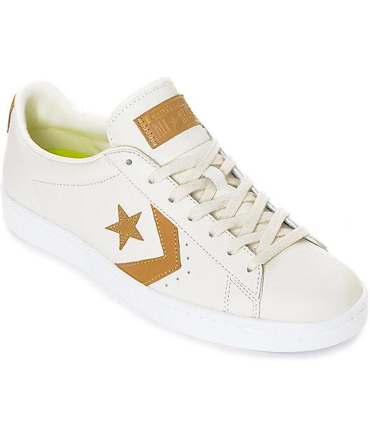 Crema '76 Zapatos Leather Converse En Pro Marrón Y Color Y76bgyf