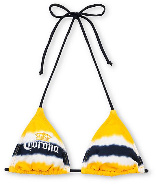ee073550b Corona Swim Yellow Tie Dye Triangle Bikini Top | Zumiez