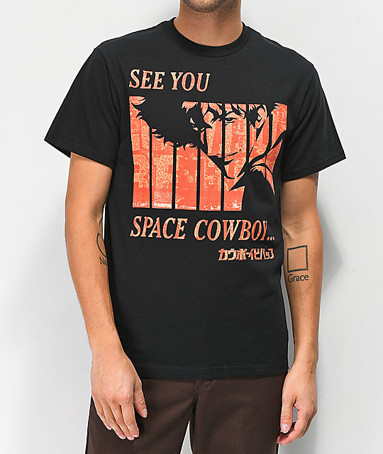 save off 32777 d1c12 Cowboy Bebop See You Black T-Shirt
