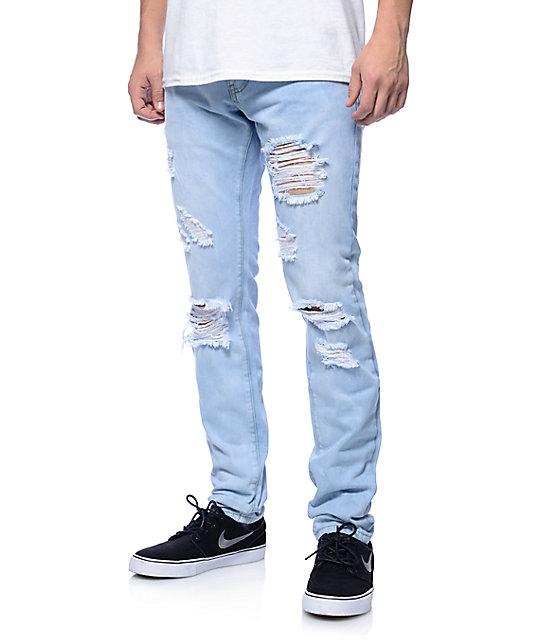 06263cb7d Crysp Jones Light Blue Fade Slim Fit Jeans