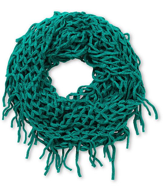 1be71884b710d D&Y Dark Green Net Fringe Infinity Scarf | Zumiez