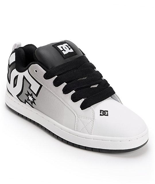 6297b4cd1d16c7 DC Court Graffik SE Black & White Print Skate Shoes | Zumiez