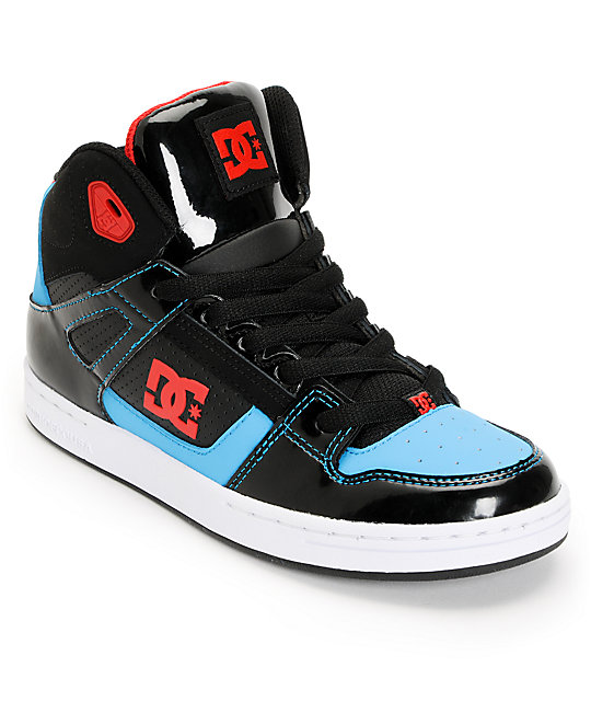 3384d52d5b DC Kids Rebound Hi Black, Red, & Turquoise Skate Shoes | Zumiez