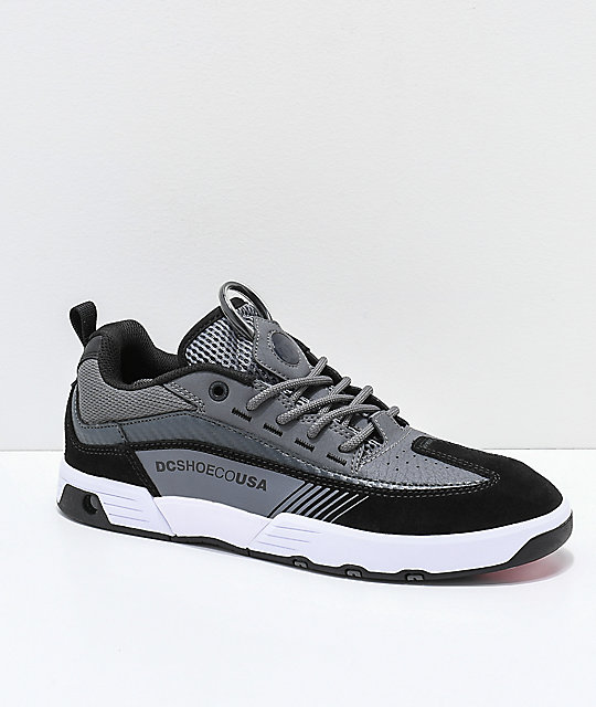 1d6702d8f085 DC Legacy 98 Slim Black, Grey & White Skate Shoes | Zumiez