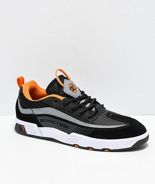 5a9f2a7e479224 DC Legacy 98 Slim Black, Orange & White Skate Shoes | Zumiez