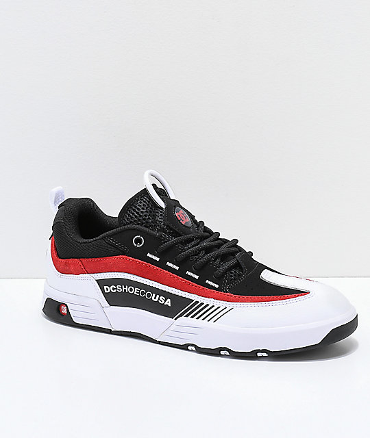 9e24716a5cd3e6 DC Legacy 98 Slim Black, White & Red Skate Shoes | Zumiez