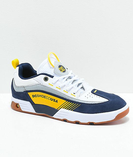 6ad5a0ebaae3 DC Legacy 98 Slim Blue, White & Yellow Shoes | Zumiez