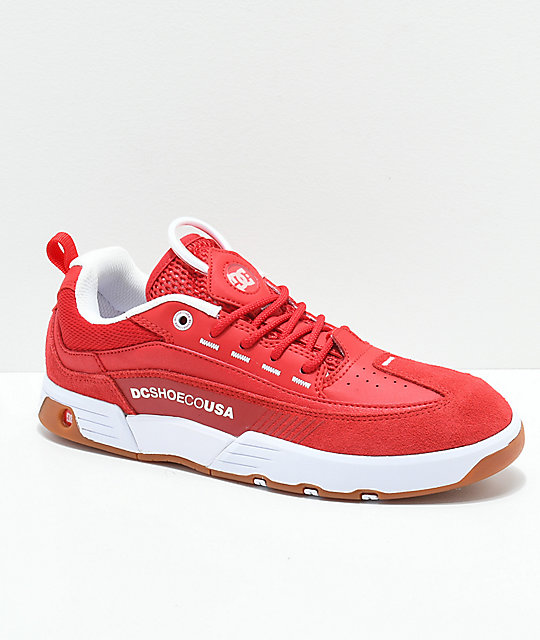 fcde392dcde2 DC Legacy 98 Slim Red & White Shoes | Zumiez