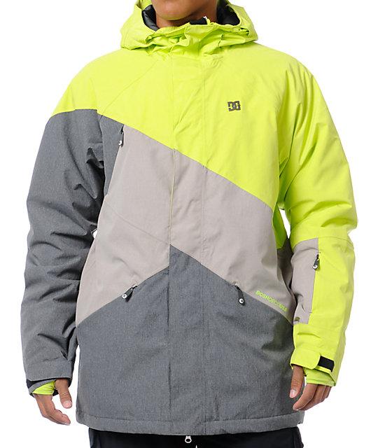 59ab1055dae1 DC Wishbone Lime & Grey 15K Snowboard Jacket | Zumiez