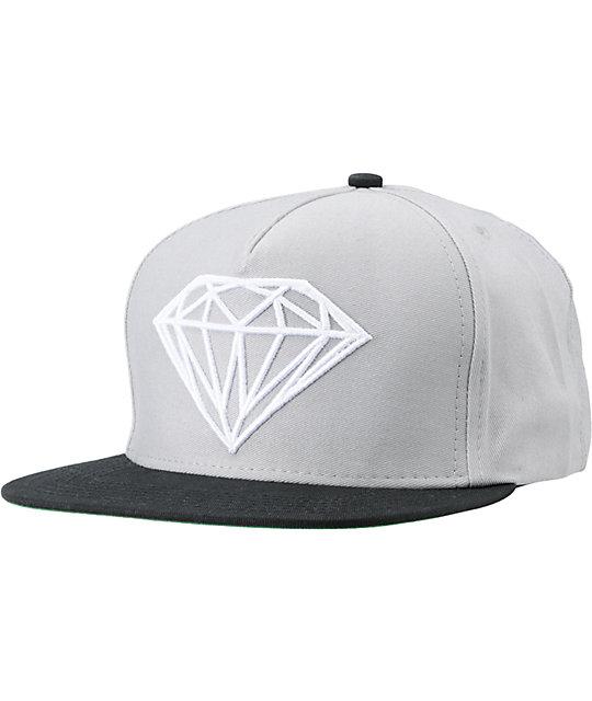finest selection eff7d 6a02b Diamond Supply Co Brilliant Black   Grey Snapback Hat   Zumiez