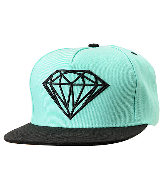9c1406aa3df1e9 Diamond Supply Co Brilliant Mint & Black Snapback Hat | Zumiez