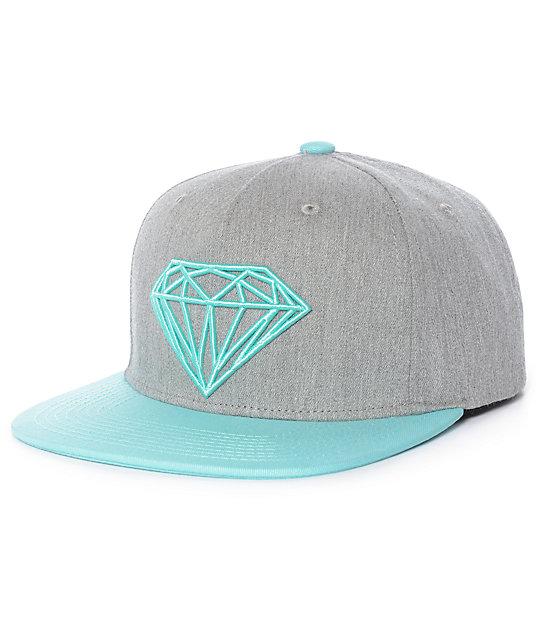 new style fc878 3fe10 Diamond Supply Co. Brilliant Youth Grey   Mint Snapback Hat   Zumiez