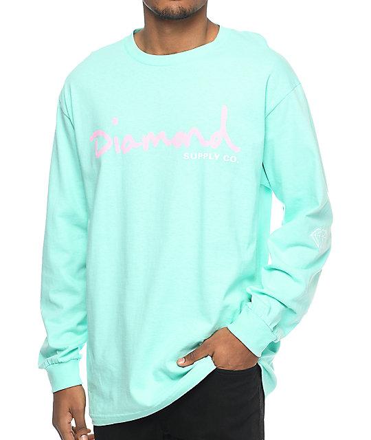 f7a2b9c1dd48 Diamond Supply Co. OG Script Blue Long Sleeve T-Shirt   Zumiez