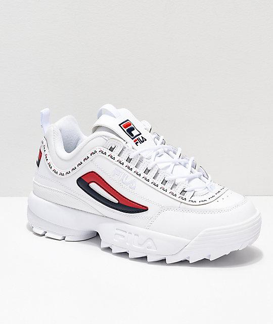 562388e053c Disruptor II Logo Taping White Shoes from FILA