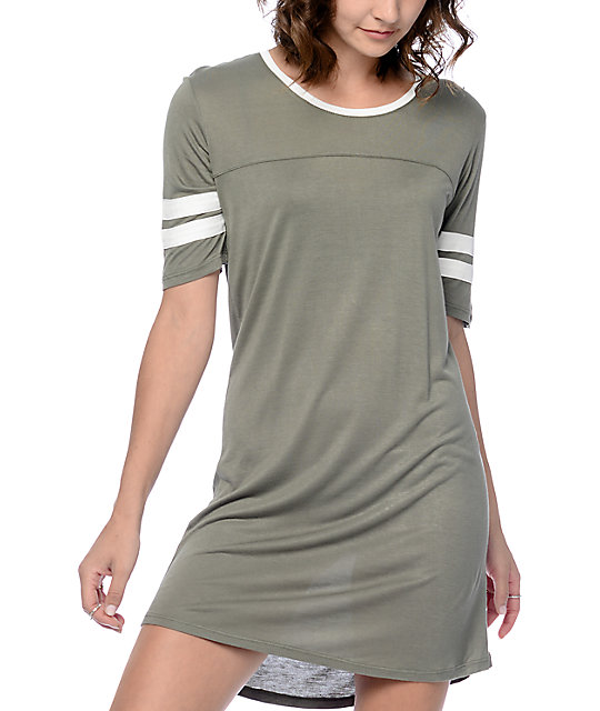 6725b0d666 Empyre Adrian Athletic Olive T-Shirt Dress | Zumiez
