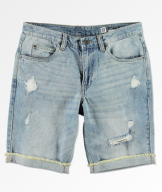02f837529bc Empyre Albany Medium Wash Distressed Denim Shorts | Zumiez