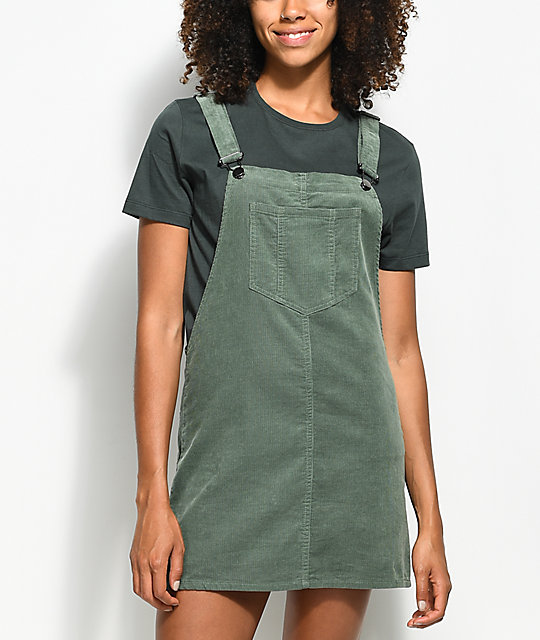 98999016c Empyre Penny Olive Corduroy Overall Dress | Zumiez