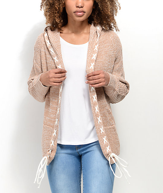 f6b83995d59 Ethos Lady Taupe Hooded Cardigan