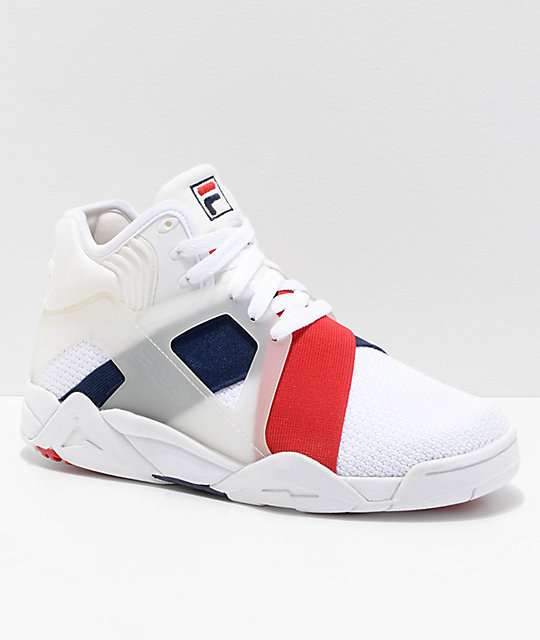 7541cbfd0fa348 FILA Cage 17 White, Navy & Red Shoes | Zumiez