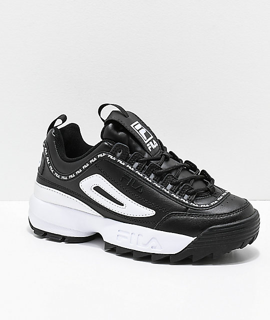 sale retailer 2c30b 3a673 FILA Disruptor II Premium Black   White Leather Shoes   Zumiez