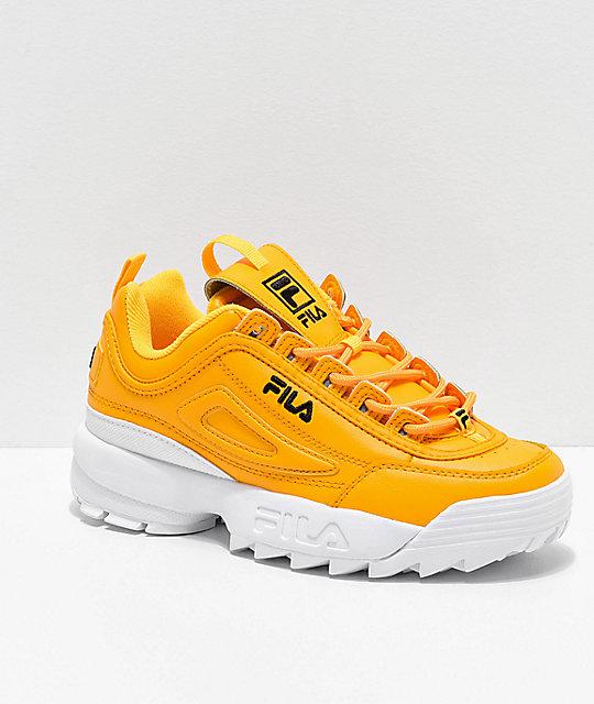 Fila Disruptor II Premium Sneaker in Gold, Black & White