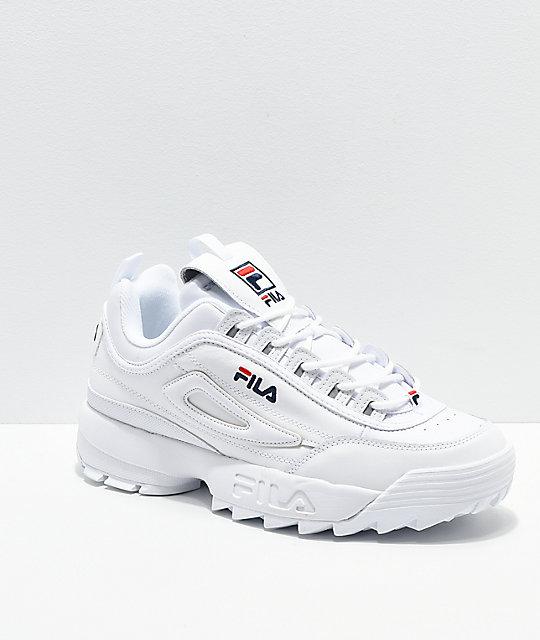 dda91a64c1cd3 FILA Men's Disruptor II Premium White, Navy & Red Shoes | Zumiez