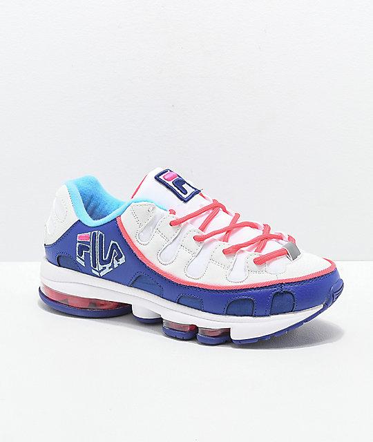 58db056d5d69 FILA Silva Trainer White, Pink & Blue Shoes | Zumiez