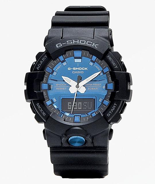 aaa7060b021f G-Shock GA810 Black & Metallic Blue Watch   Zumiez