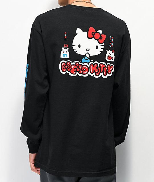 57eea46a3 Girl x Hello Kitty 45th Anniversary Black Long Sleeve T-Shirt | Zumiez