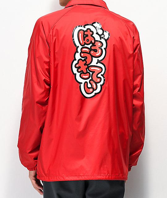 e8cef1be5 Girl x Hello Kitty 45th Anniversary Katakana Red Coaches Jacket | Zumiez
