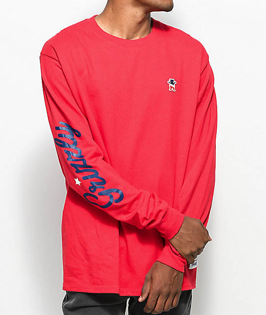 10ea8cbc1dbd Grizzly Behind The Arc Red Long Sleeve T-Shirt | Zumiez