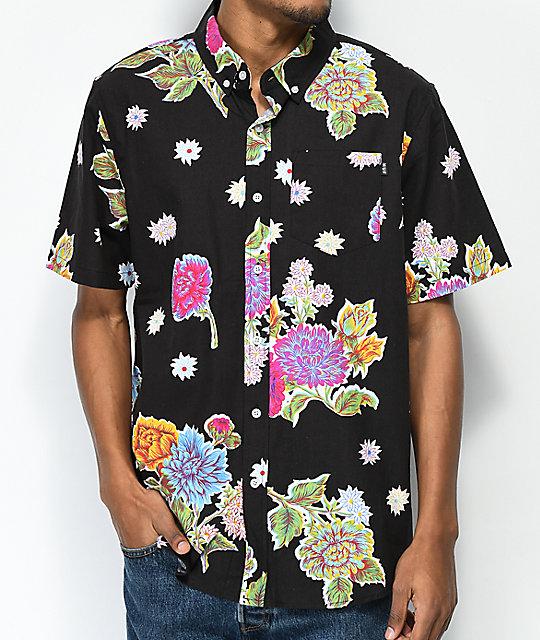0f0899a1d15ea HUF Botanica Black Short Sleeve Button Up Shirt | Zumiez