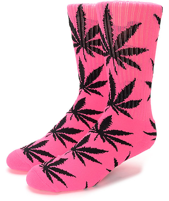 b73a1cf038202 HUF Plantlife Highlighter Neon Pink Crew Socks | Zumiez