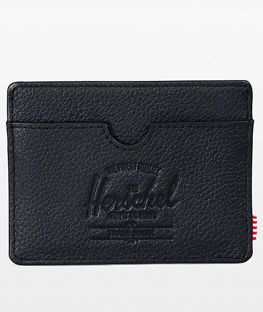 best website 3ad5d e5d21 Herschel Supply Co. Charlie Black Pebbled Leather Cardholder Wallet