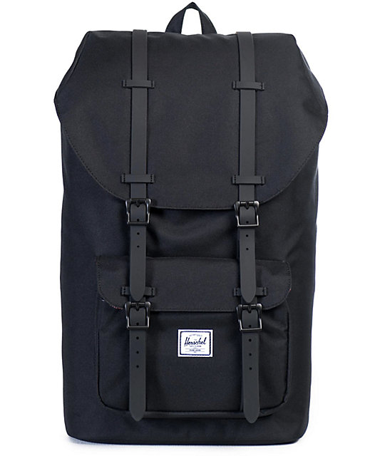 83bc601c1 Herschel Supply Co. Little America Black on Black Rubber 17L Backpack |  Zumiez