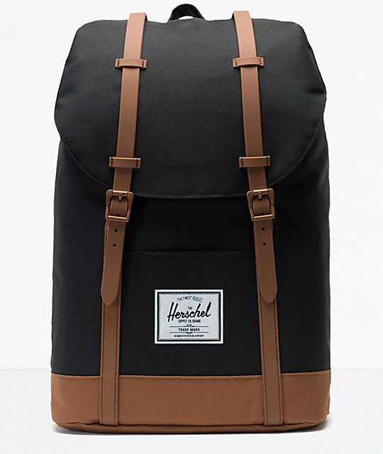 6a6c6103ea0397 Herschel Supply Co. Retreat Black and Saddle Brown Backpack | Zumiez