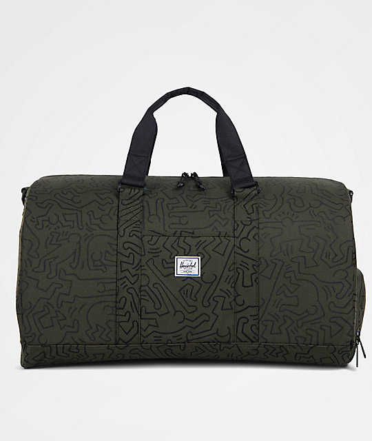 f2fce3f57 Herschel Supply Co. X Keith Haring Novel Forest Green & Black 42.5L Duffle  Bag | Zumiez