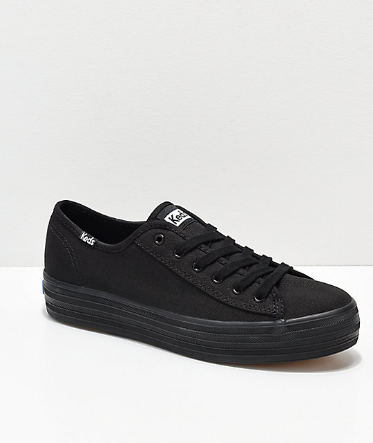 6fe285f5 Keds Triple Kick Black Canvas Shoes | Zumiez