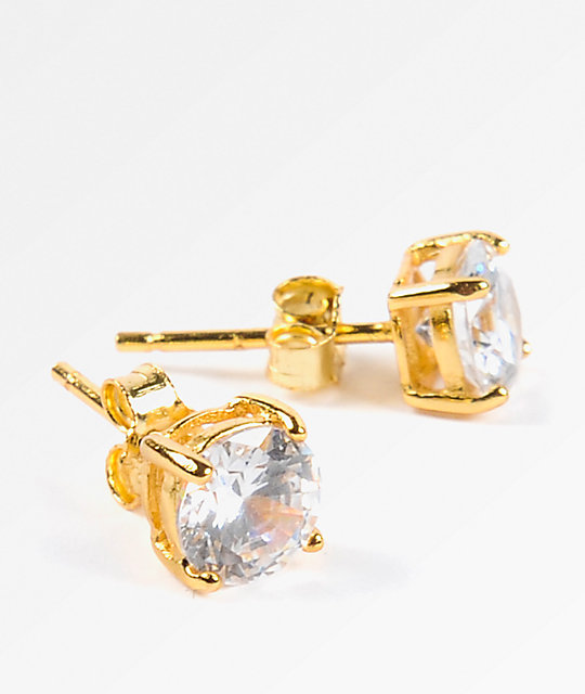 70be28268ac130 King Ice 6mm Gold & Clear Round Cut Earrings | Zumiez