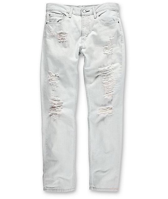 98f8a411be0 Levi Thrashed 511 White Ripped Slim Denim Jeans | Zumiez
