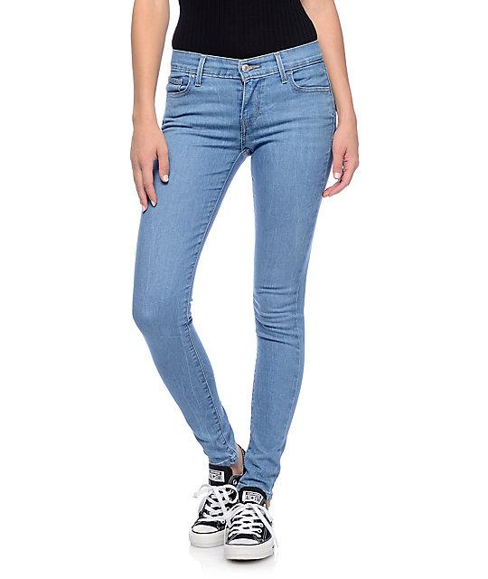 e99eca6ec85fb3 Levi's 710 Medium Blue Mid Super Skinny Jeans | Zumiez