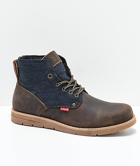 8d5502e83b2a4 Levi's Jax Brown, Navy, Denim & Leather Boots | Zumiez