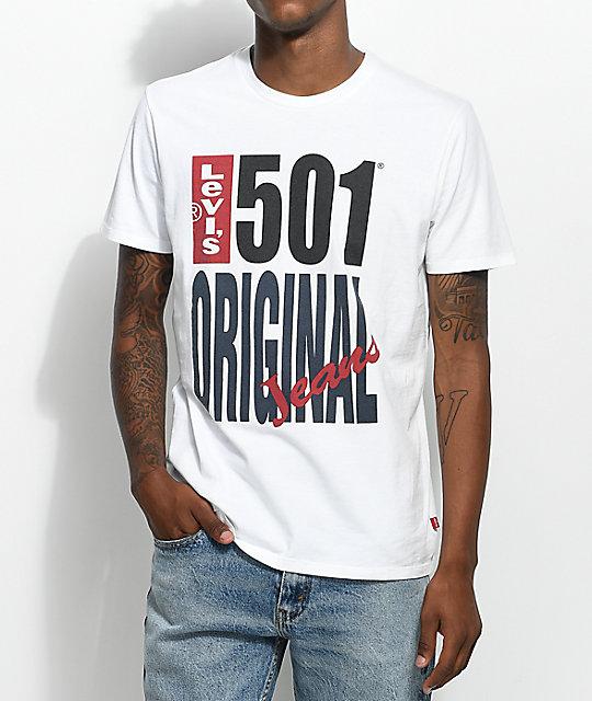 70646173 Levis 501 Logo White T-Shirt | Zumiez
