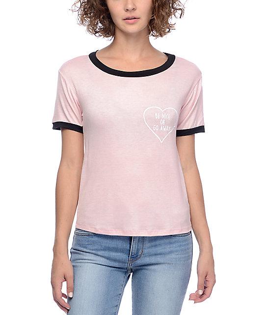 Lunachix Be Nice Or Go Away Pink & Black Ringer T-Shirt