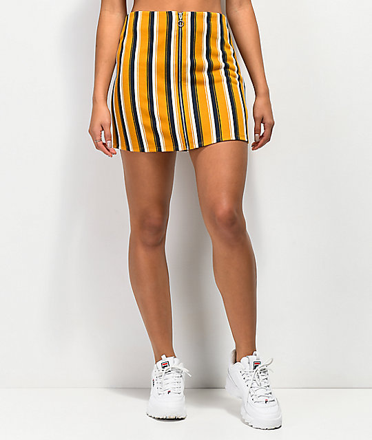 9fbab14c7 Lunachix Gold & Navy Stripe Front Zip Mini Skirt