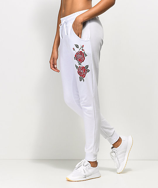 b63d5b201 Lunachix White Rose Side Jogger Sweatpants | Zumiez