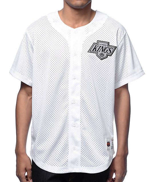 sale retailer 706bd d6c69 MLB Mitchell and Ness LA Kings White Mesh Button Down Jersey