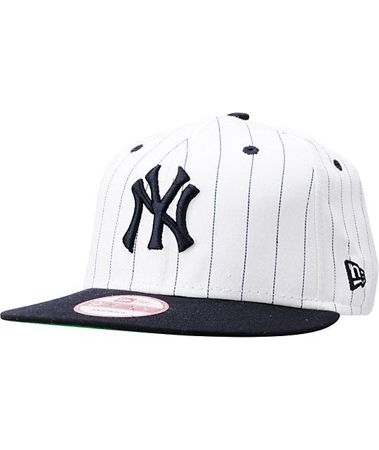690948c9 MLB New York Yankees White BITD Pin Stripe New Era Snapback Hat | Zumiez