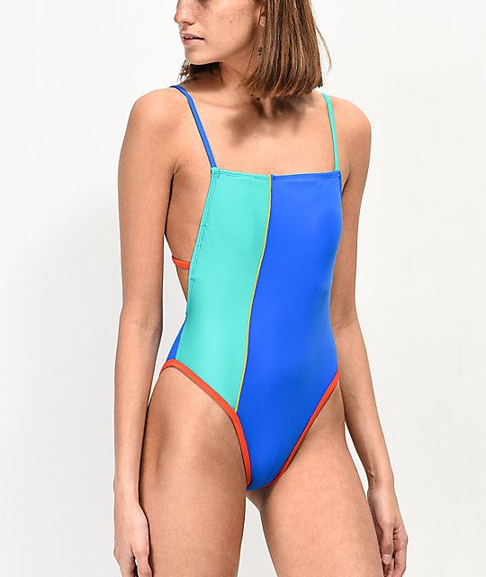 a0443389c7ef Malibu Color Block High Leg One Piece Swimsuit   Zumiez